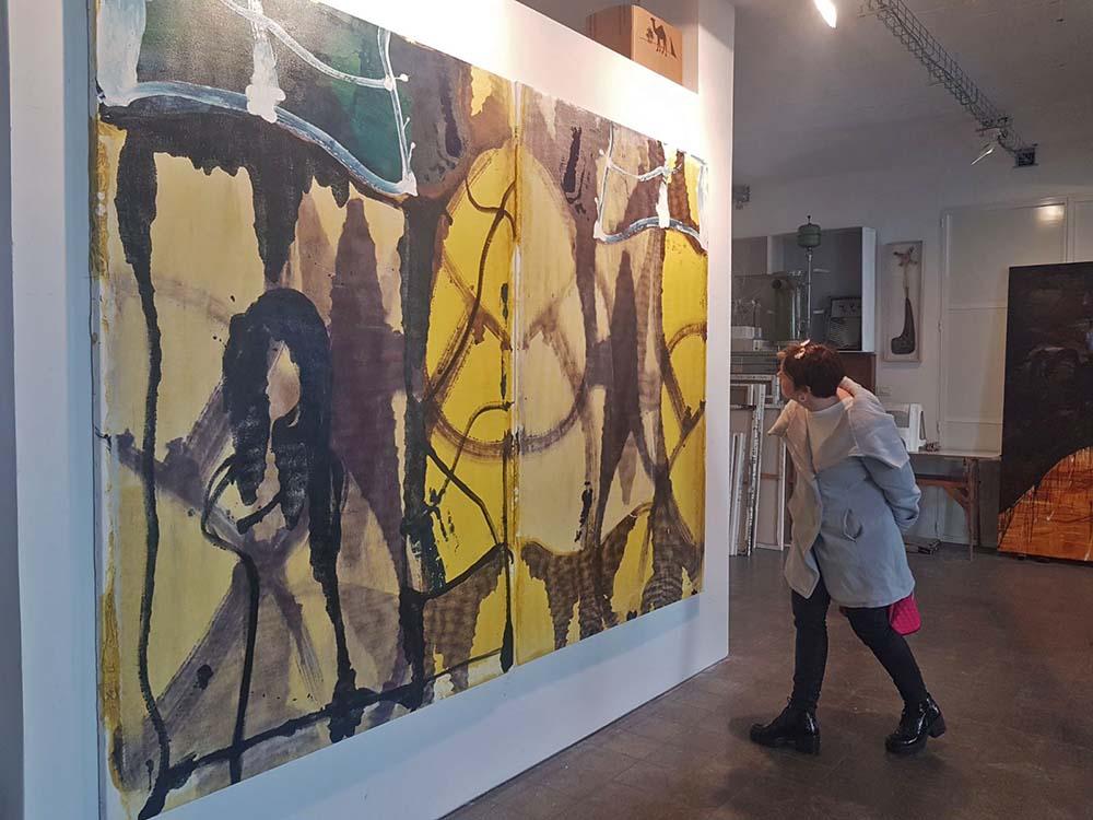 ביקור סטודיו אצל ציבי גבע ומפגש עם בויאן בתערוכת יחיד שלו בגלריה Raw Art